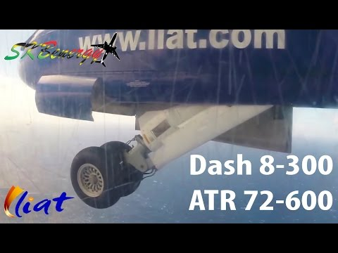 Liat arrivals into St. Kitts Airport - Dash 8-300 vs ATR 72 600 Part 1