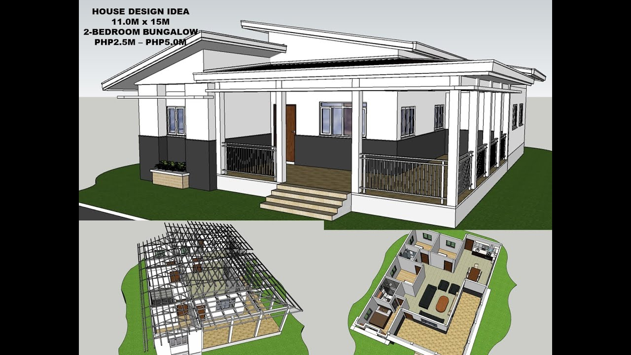 House Design Idea 11 0m X 15 0m 4 Bedroom Bungalow Php2 5m Php5 0m Budget Youtube