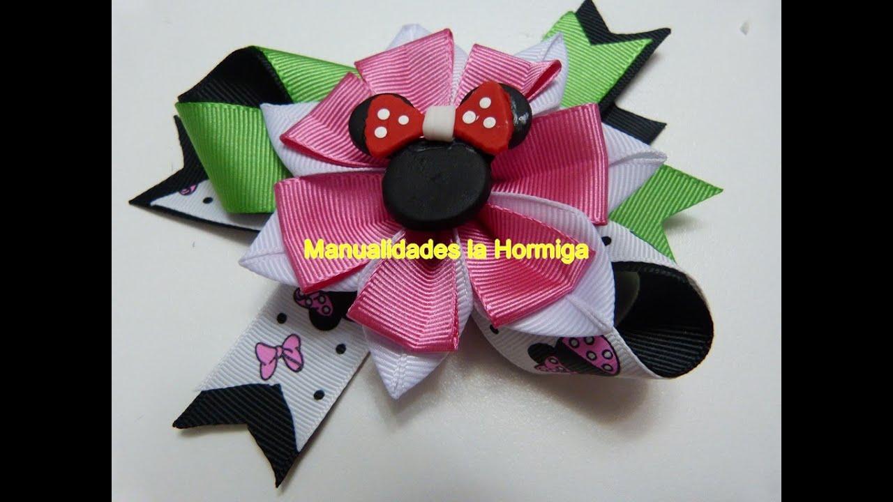 Como Hacer Flores flores en cinta para decorar lazos hair clips
