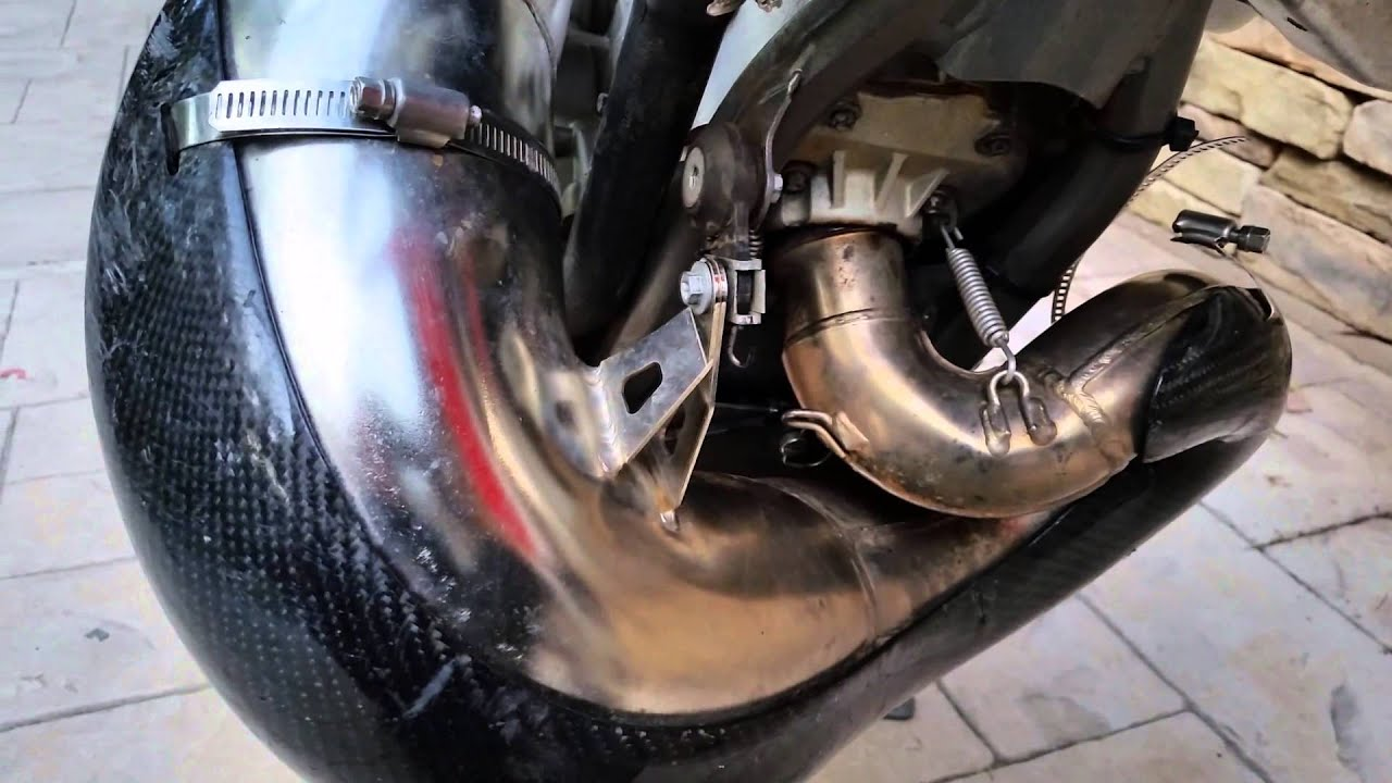 ktm 200 xc-w bent 2 stroke exhaust pipe easy repair - youtube