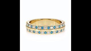 AGnSons YGold BlueTopaz Eternity Ring RZ1505