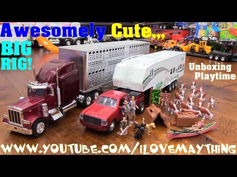 Kids' Toy Trucks! A Camping Trailer Pickup Truck and Semi Hauler Animal Transporter Truck Unboxing
