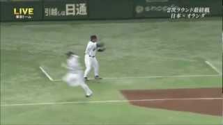 高代延博3塁コーチが体を張ってランナーの糸井を止める! http://www.yo...