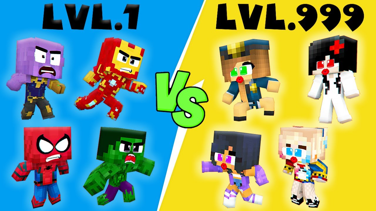 Monster School : Love Curse CROOK vs BOSS SUPERHEROES Boys VS Girls - Hulk vs Ironman Lvl 1 Lvl 999