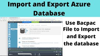 Import and Export Azure Database