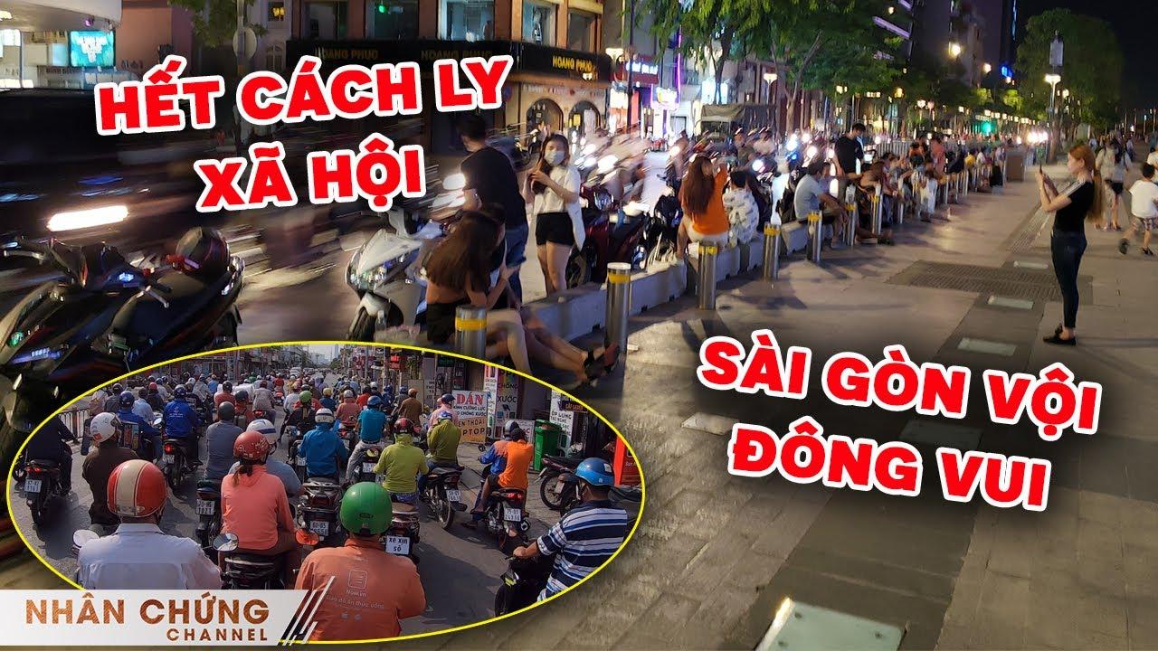 Ngày đầu hết cách ly xã hội, đường Sài Gòn lập tức đông đúc, quán ăn mở cửa, phố đi bộ tấp nập