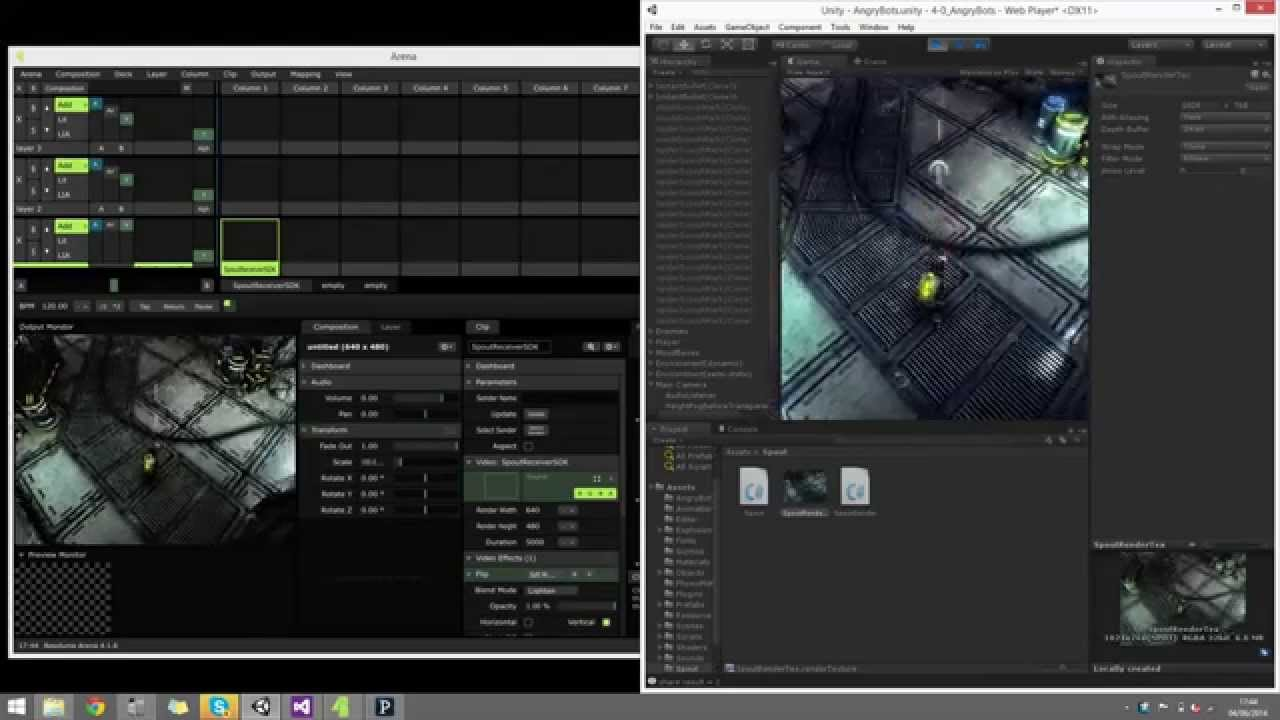 Spout [Syphon for Windows] Unity to Resolume Plugin Demo