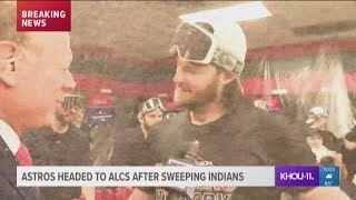 Astros celebrate in clubhouse after sweeping Indians, advancing to ALCS