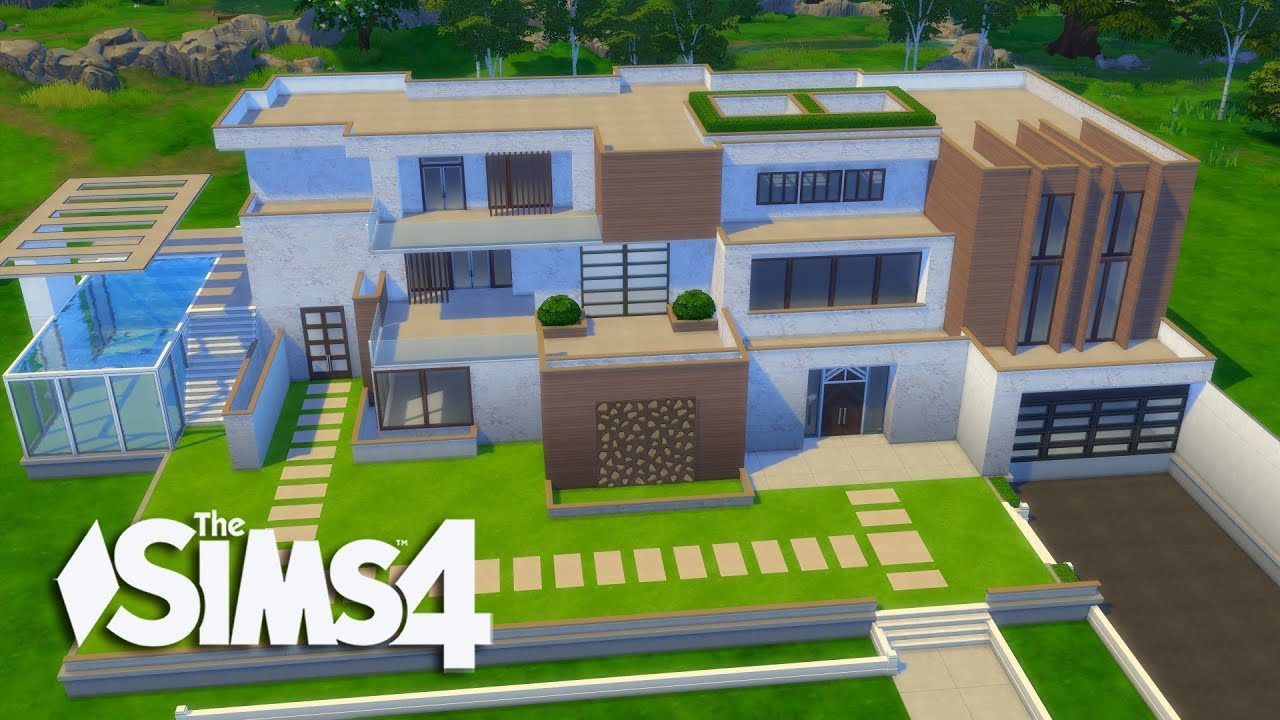 The sims 4 lets build a modern mansion part 1 realtime