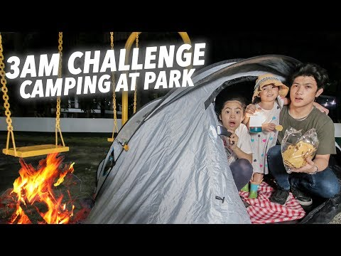 Camping OVERNIGHT At The Park (3AM Challenge)   Ranz and Niana