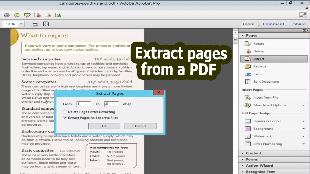 how to separate pdf pages in adobe