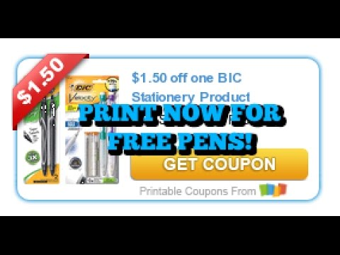 image relating to Bic Printable Coupons called Very hot Fresh new Printable Coupon for Free of charge Bic Pens!