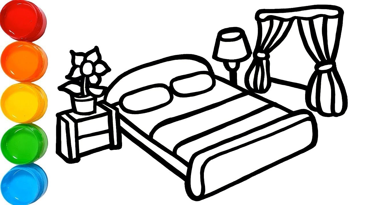 Glitter Bedroom Drawing and Coloring Pages for Kids ...