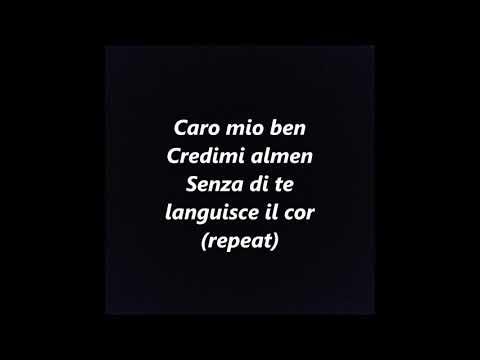 Caro Mio Ben KARAOKE INSTRUMENTAL BACKING TRACK Giordani Italian aria LYRICS WORDS SING ALONG SONGS
