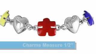Autism Awareness Tri-Colored Puzzle Piece & Heart Bracelet #16447B - CarliesHero.com