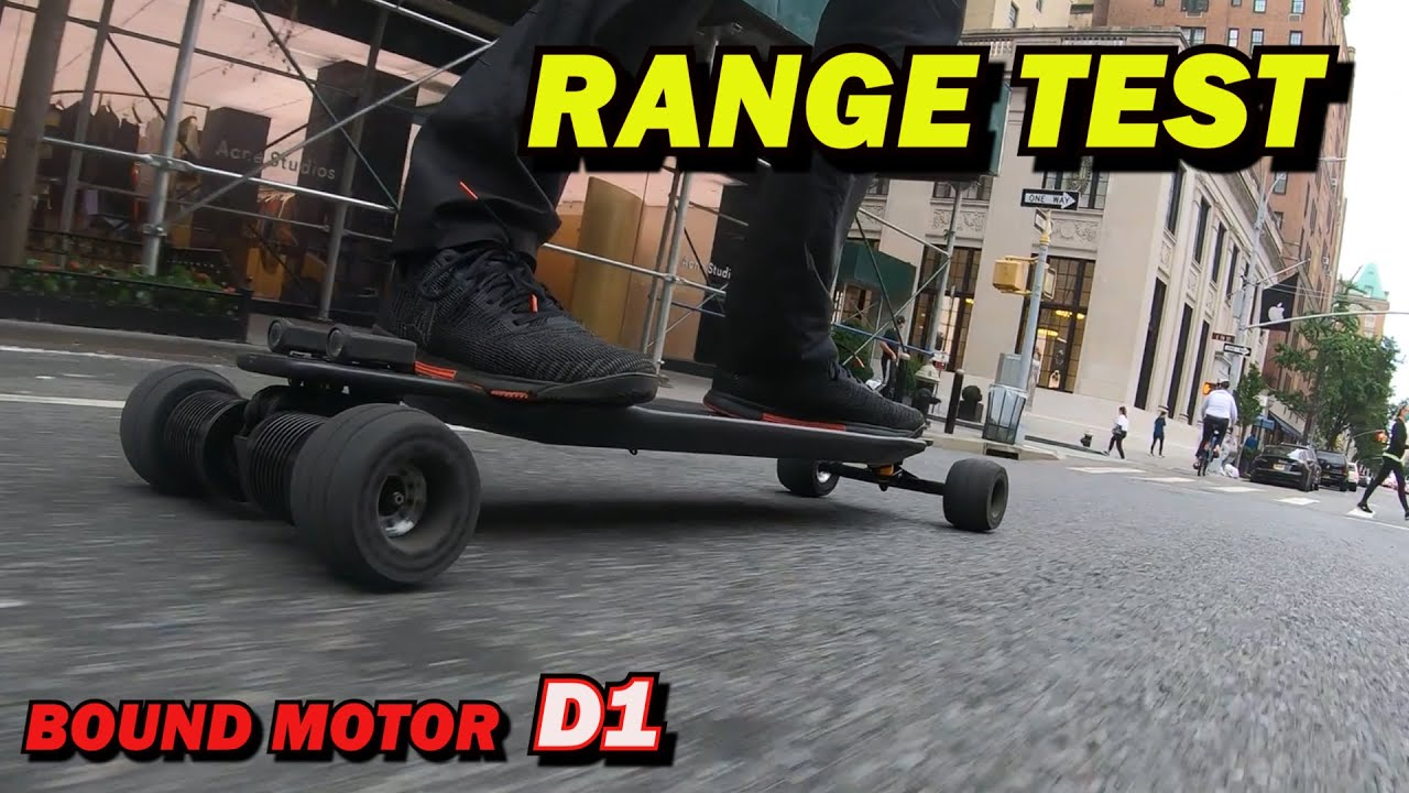 Carbon Electric skateboard Bound Motor D1 RANGE TEST on 40A and 22A