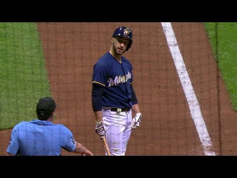 ATL@MIL: Braun argues, flips bat and gets tossed