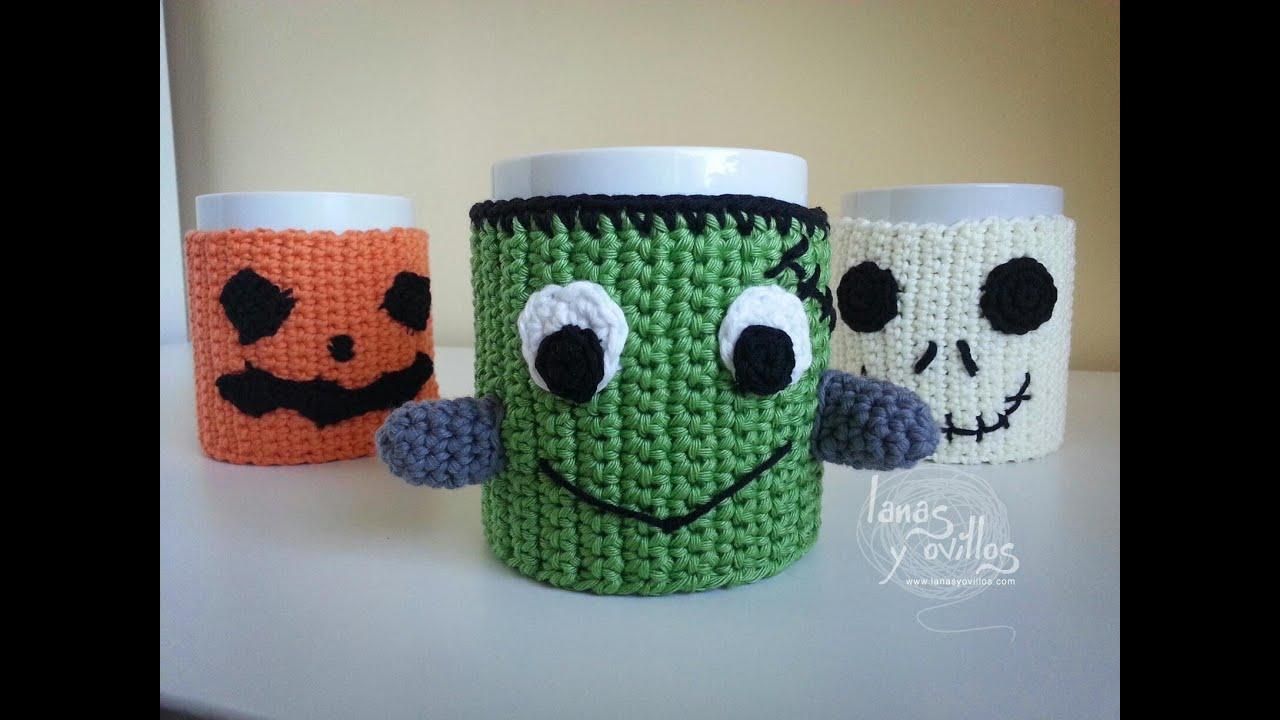Tutorial Cubretazas (Cup Cozy) Halloween Crochet o Ganchillo Paso a ...