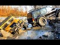 RC Cars Rescue Stuck in Mud Ice — Axial SCX10 II Jeep Cherokee 4WD and Axial SCX10 Hummer H1 4x4