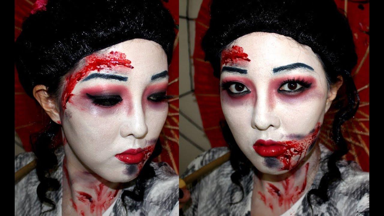Zombie Geisha Halloween Makeup Tutorial ❤ 할로윈 좀비 메이크업 ...