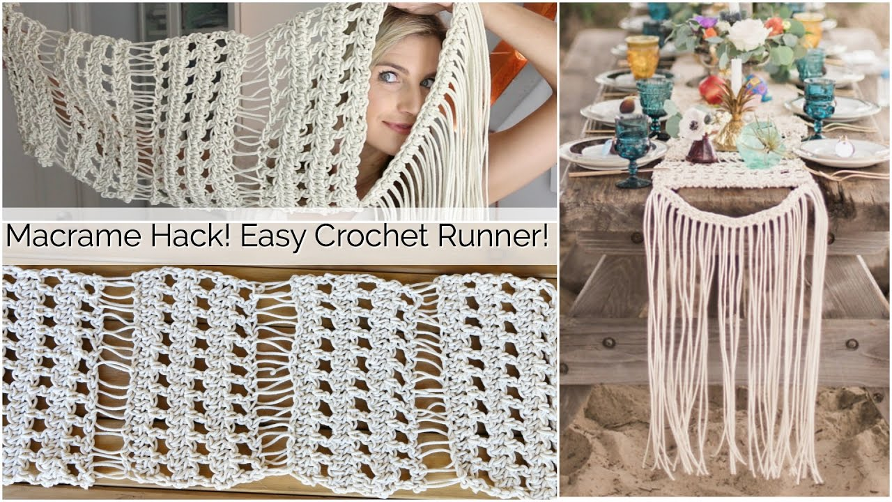 Macrame Inspired Crochet Table Runner Tutorial Youtube