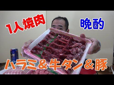 ≪1人焼肉≫【ハラミ&牛タン&豚肉】久しぶりの焼肉でサクッと晩酌してみた!