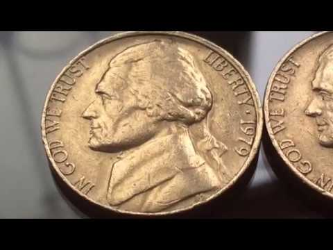 Rare and Error 1979 US Coins Varieties Five Cents Jefferson Nickel Coin Numismatics