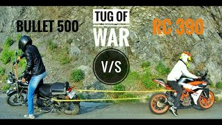 KTM RC390 vs RE THUNDERBIRD 500 | Tug of War | Who will win in 5 rounds? | Dragstar MotoVlogs |