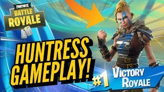 HUNTRESS Skin gameplay! No Fortnite Battle Royale..