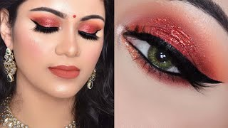 आसान दिवाली मेकअप Glowing DIWALI Makeup RED Glitter SMOKEY Eye Look 2019