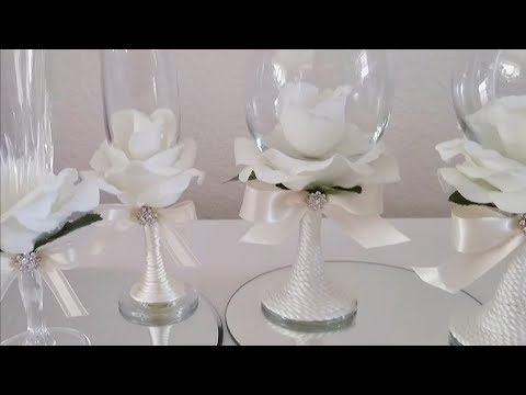 INEXPENSIVE ROSE COVERED WINE GLASSES | INEXPENSIVE DIY | SOME DOLLAR TREE ITEMS