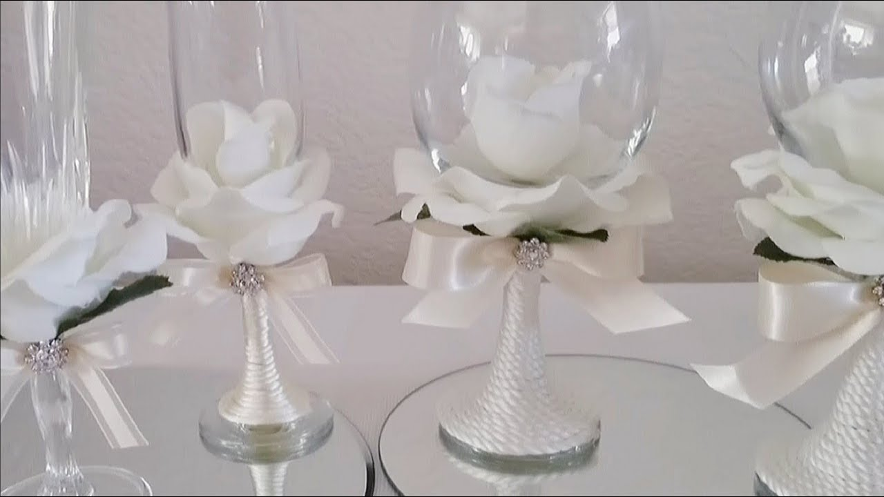 INEXPENSIVE ROSE COVERED WINE GLASSES | INEXPENSIVE DIY | SOME ...