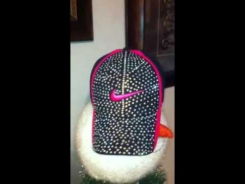 DIY swarovoski crystal baseball cap hat rhinestone sparkle bling ... 8dbad0b695d