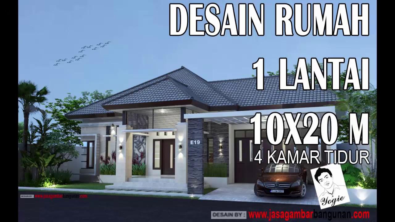 Desain Rumah Tropis 1 Lantai 10x20m  YouTube