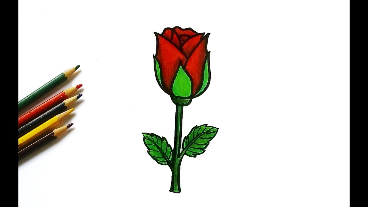 How To Draw A Cute Rose For Kids Easy Drawing Tutorial Youtube