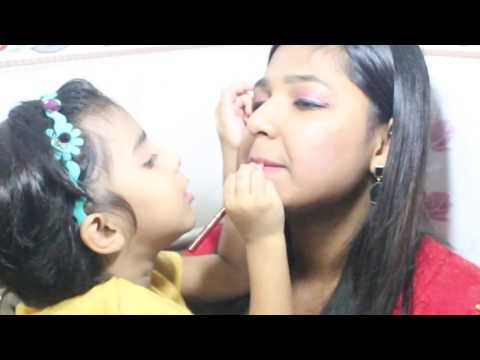 My 3 years Niece Does my Make Up | Baby Makeup Tutorial