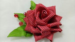 89) DIY - Tutorial Kanzashi Rose || Cara Membuat Bros Mawar Kanzashi || Kanzashi Flower