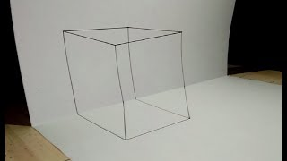 Very Easy How to draw 3D Transparent cube Easy Trick Art for kids