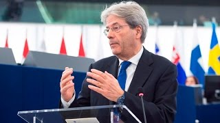 Gentiloni interviene al Parlamento europeo riunito in seduta plenaria (HD) (15/03/2017)