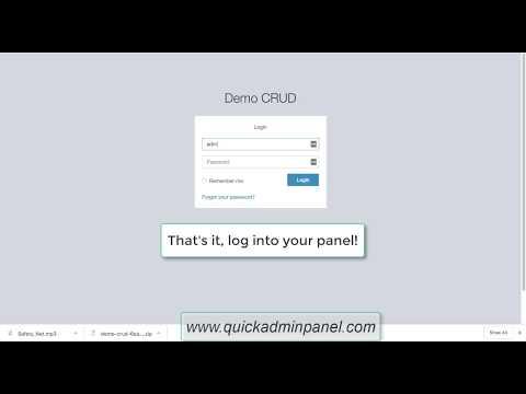 Quick Laravel Admin Panel - CRUD Generator