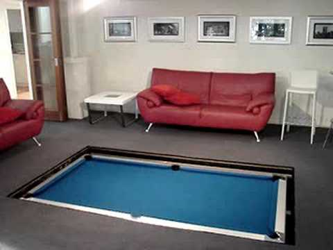 Disappearing pool table youtube - How much room do i need for a pool table ...