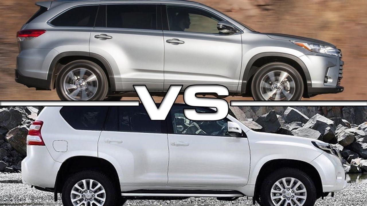Toyota Fortuner Vs Highlander >> 2017 Toyota Highlander Vs Toyota Land Cruiser Prado Youtube