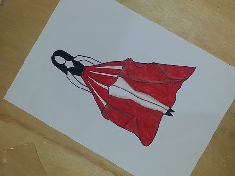 stylish-red-color-designer-dress-design-step-by-step-drawing