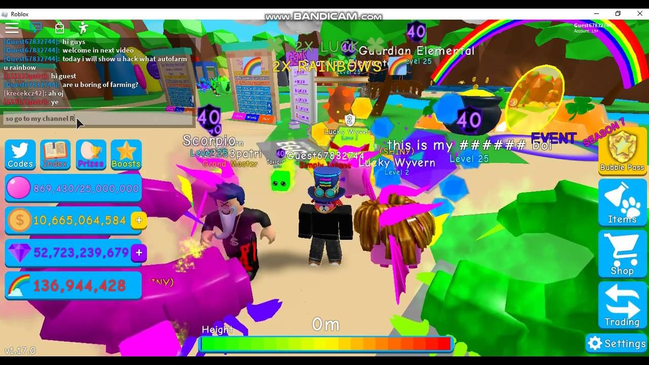 Autofarm Rainbow Hack Bubble Gum Simulator Youtube