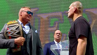 Brock Lesnar and Cain Velasquez weigh in for battle: Crown Jewel media event, Oct. 30, 2019