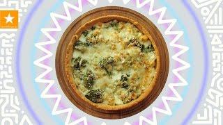 Открытый пирог с брокколи и цветной капустой от Мармеладной Лисицы. Рецепт без яиц