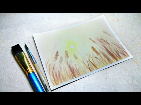 Easy Watercolor Painting | Sunset Landscape