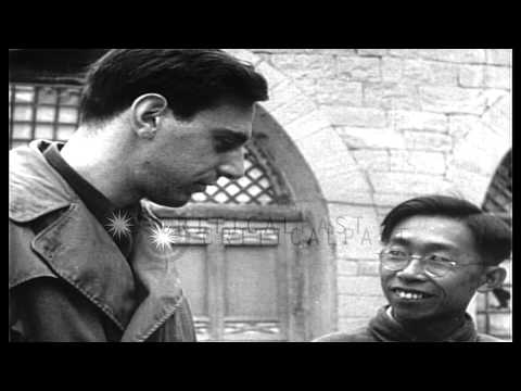 Mao Zedong at his cave house in Yan'an, China in 1944 with reporters HD Stock Footage