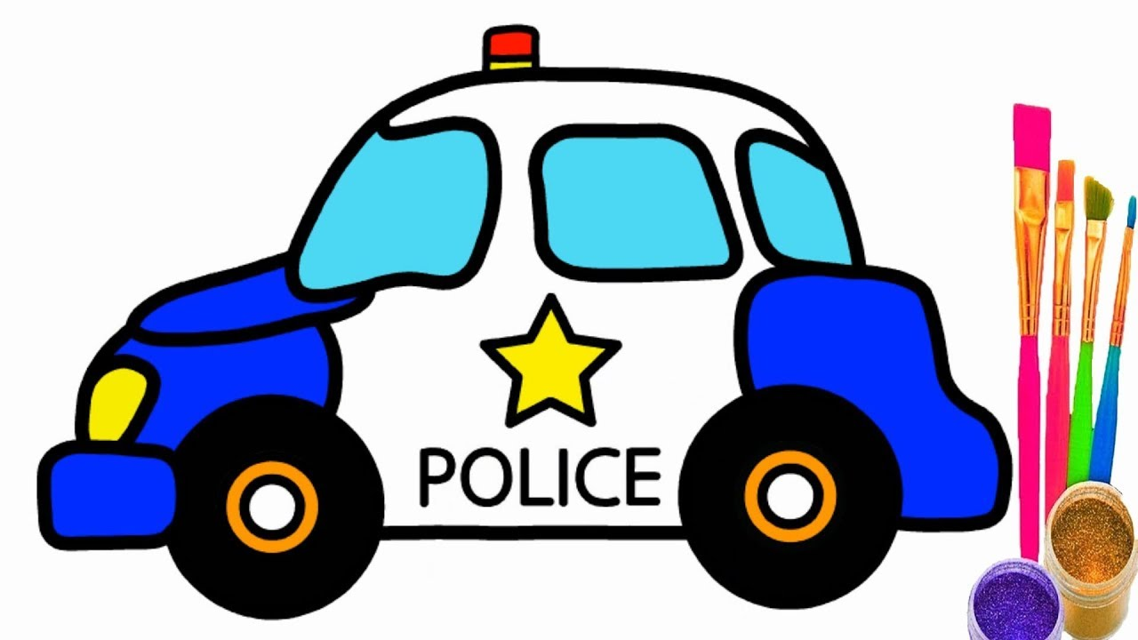 How To Draw Police Car Police Car Coloring Pages For Kid Children