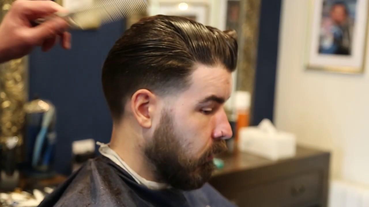 Haircut Tutorial Slicked Back Taper Fade Men S Hairdressing Long Hair Youtube